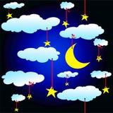 Priorità bassa senza giunte con le stelle e le nubi royalty illustrazione gratis