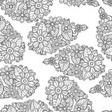 Priorità bassa senza giunte del reticolo del fiore Vettore floreale di struttura Libro di coloritura Immagine Stock