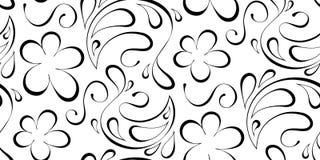Priorità bassa senza giunte floreale Modello nero su un fondo bianco Immagine Stock Libera da Diritti