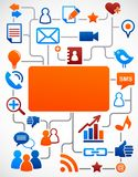 Priorità bassa sociale della rete con le icone di media immagini stock