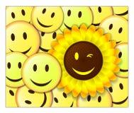 Priorità bassa sorridente con il girasole Fotografie Stock Libere da Diritti