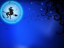 Priorità bassa spaventosa di notte della luna piena di Halloween. Fotografia Stock