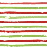 Priorità bassa a strisce di natale Modello senza cuciture di vettore con le linee dipinte spazzola Immagini Stock Libere da Diritti