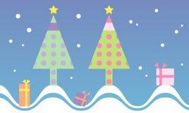 Priorità bassa sveglia e variopinta dell'albero di Natale Immagini Stock