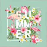 Priorità bassa tropicale dei fiori Progettazione di estate illustrazione di stock