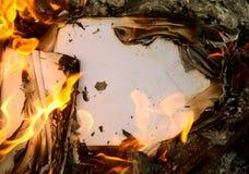 Priorità bassa un vecchio documento burning Immagine Stock Libera da Diritti