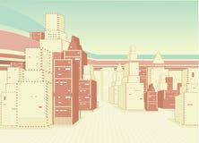 Priorità bassa urbana con costruzione Fotografia Stock
