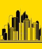 Priorità bassa urbana con i grattacieli Immagini Stock Libere da Diritti