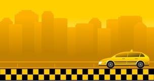 Priorità bassa urbana con l'automobile del tassì Immagine Stock Libera da Diritti
