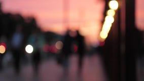 Priorità bassa vaga Sfuocatura delle luci della città di notte archivi video