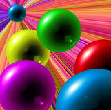 Priorità bassa variopinta astratta con le sfere nel movimento illustrazione vettoriale