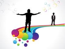 Priorità bassa variopinta astratta del Rainbow con gli uomini Fotografia Stock