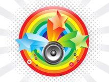 Priorità bassa variopinta astratta del Rainbow con il suono Fotografia Stock