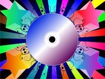 Priorità bassa variopinta con il CD di musica illustrazione di stock