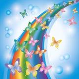 Priorità bassa variopinta con il Rainbow e le farfalle Fotografia Stock Libera da Diritti