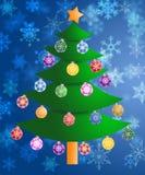 Priorità bassa variopinta dei fiocchi di neve dell'albero di Natale Immagini Stock