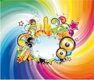 Priorità bassa variopinta di musica per le alette di filatoio Immagine Stock