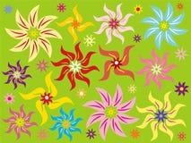 Priorità bassa verde con il fiore Fotografie Stock