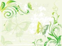 Priorità bassa verde di Grunge con l'elemento floreale illustrazione di stock