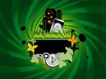 Priorità bassa verde di musica Immagine Stock