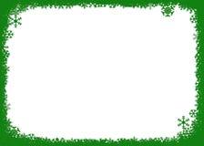 Priorità bassa verde di natale con i fiocchi di neve Fotografia Stock