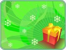 Priorità bassa verde di natale con il contenitore di regalo. Fotografie Stock Libere da Diritti