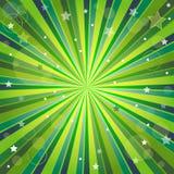 Priorità bassa verde e gialla astratta con i raggi Fotografie Stock Libere da Diritti