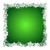 Priorità bassa verde quadrata del fiocco di neve Immagini Stock