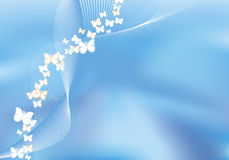 Priorità bassa blu della maglia con le farfalle di volo Immagini Stock Libere da Diritti