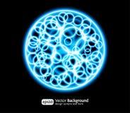 Priorità bassa blu rotonda di effetti luminosi Eps10 Immagine Stock