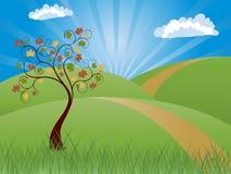 Priorità bassa con il paesaggio di autunno Immagini Stock Libere da Diritti