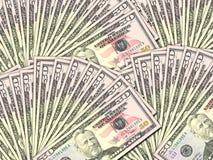 Priorità bassa dei dollari degli S.U.A. del mucchio 50 dei soldi Fotografie Stock Libere da Diritti