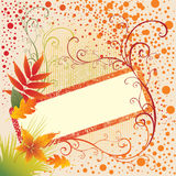 Priorità bassa del blocco per grafici di vettore di Grunge con i fogli di autunno. Fotografie Stock Libere da Diritti