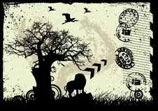 Priorità bassa del grunge di vettore con l'albero e l'animale Fotografie Stock