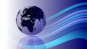 Priorit? bassa del programma di mondo Un globo del mondo su fondo ondulato blu royalty illustrazione gratis