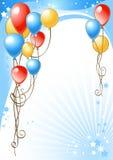 Priorità bassa di buon compleanno con gli aerostati Fotografia Stock Libera da Diritti