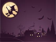 Priorità bassa di Halloween con la strega Immagini Stock