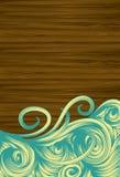 Priorità bassa di legno di Grunge con i turbinii disegnati a mano Fotografie Stock Libere da Diritti