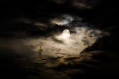 Priorità bassa di paesaggio di Halloween Fotografia Stock