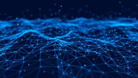 Priorit? bassa futuristica astratta Ondeggi con i punti e le linee di collegamento su fondo scuro rappresentazione 3d illustrazione vettoriale