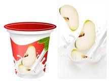 Priorità bassa per il disegno del yogurt dell'imballaggio con la foto Fotografia Stock