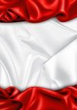 Priorità bassa rossa e bianca del tessuto del raso Fotografia Stock