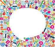Priorità bassa sociale dell'icona della bolla di discorso Immagini Stock