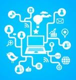 Priorità bassa sociale della rete con le icone di media Fotografia Stock Libera da Diritti