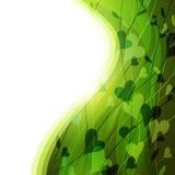 Priorità bassa verde con i fogli astratti, cuori Fotografie Stock Libere da Diritti