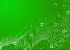 Priorità bassa verde con le stelle Fotografia Stock