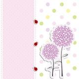 Priorità bassa viola del puntino di Polka del fiore di disegno di scheda Immagini Stock Libere da Diritti