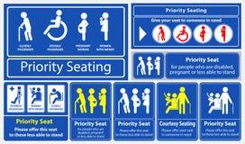Prioritaire zetelsticker gebruikend in openbaar vervoer, zoals bus, trein, massa snelle doorgang en andere royalty-vrije illustratie