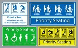 Prioritaire zetelsticker gebruikend in openbaar vervoer, zoals bus, trein, massa snelle doorgang en andere vector illustratie