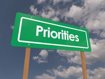 Priorities. Green priorities signpost concept on a blue sky background Stock Image